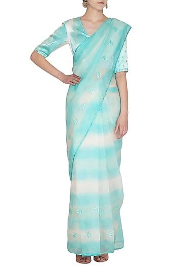 Sky Blue Tie & Dye Embroidered Saree Set by Devnaagri