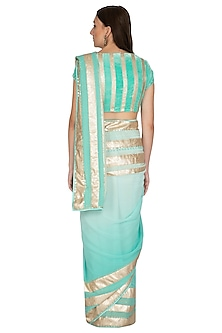 Aqua Blue Shaded Ombre Embroidered Saree Set by Devnaagri