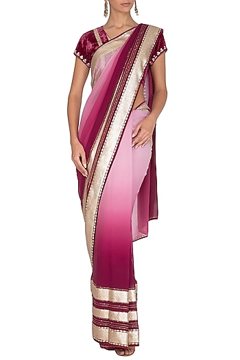 Plum Red Ombre Shaded Embroidered Saree Set by Devnaagri