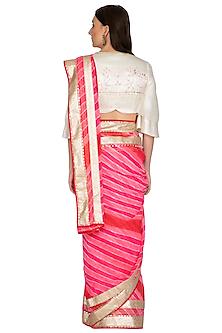 Fuchsia Leheriya Embroidered Saree Set by Devnaagri