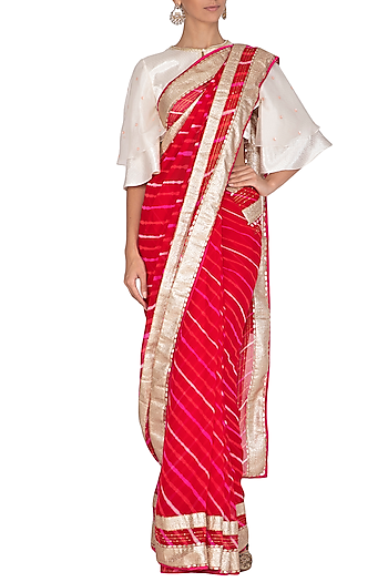 Red & Ivory Leheriya Embroidered Saree Set by Devnaagri