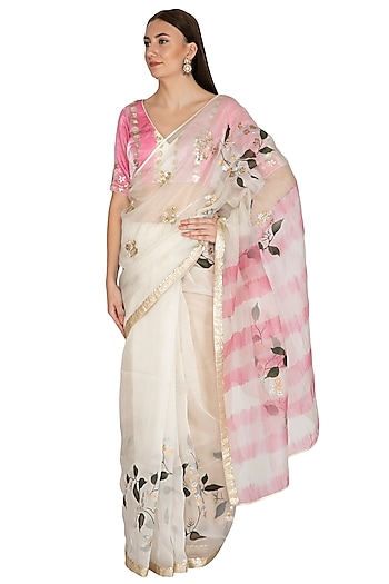 Ivory & Pink Hand Painted Embroidered Saree Set by Devnaagri