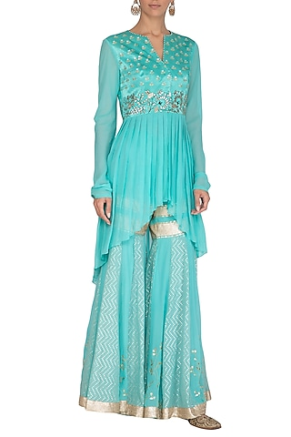 Aqua Blue Embroidered Kurta With Sharara Pants by Devnaagri