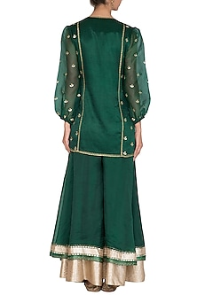 Emerald Green Embroidered Sharara Set by Devnaagri