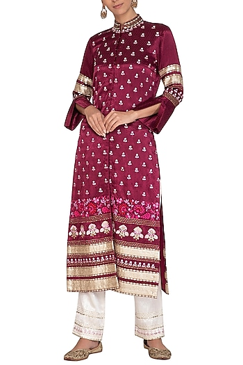 Plum Red Embroidered Jacket With Pants by Devnaagri