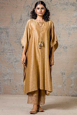 Beige Kaftan Kurta Set With Lace Detailing by Devnaagri
