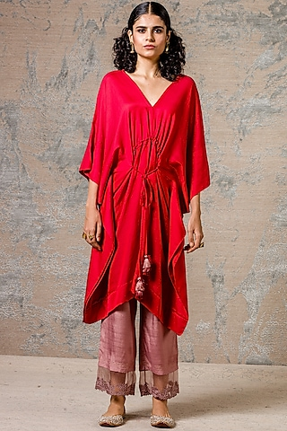Red Kaftan Kurta Set With Tassels by Devnaagri