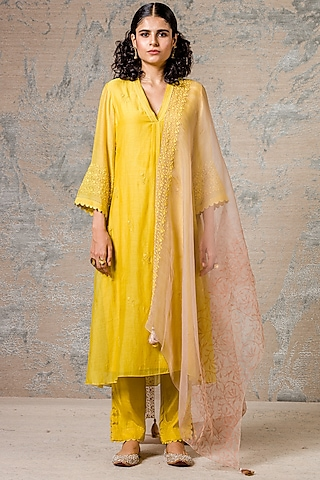 Yellow Embroidered & Printed Kurta Set by Devnaagri