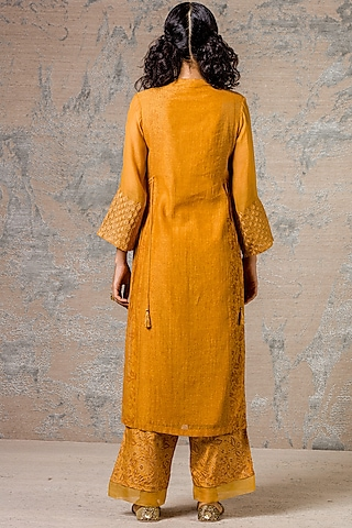 Mustard Embroidered Kurta Set by Devnaagri