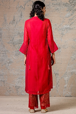 Red Printed & Embroidered Kurta Set by Devnaagri