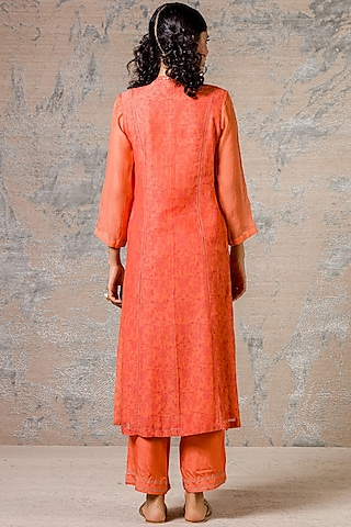 Orange Kurta Set With Zari Detailing by Devnaagri
