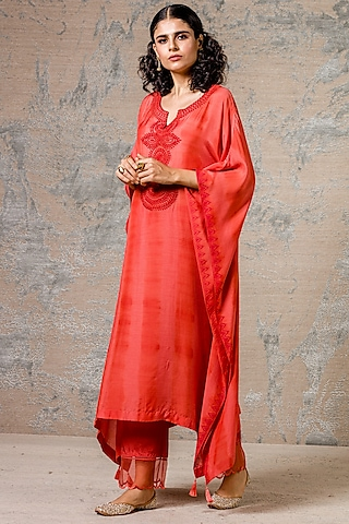 Rust Red Embroidered Kurta With Pants by Devnaagri