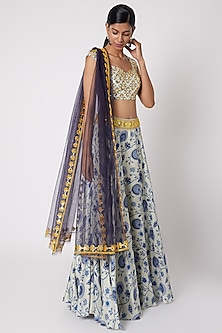 Blue Printed & Embroidered Lehenga Set by Diya Rajvvir