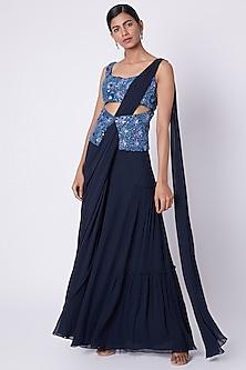 Navy Blue Embroidered Pre-Stitched Saree Set by Diya Rajvvir