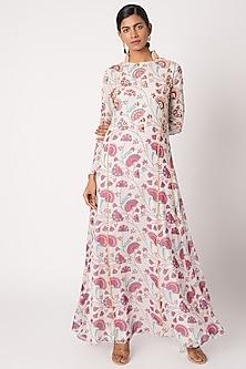 Pink Printed Kurta Set by Diya Rajvvir