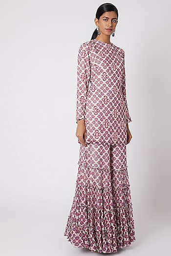 Pink Printed & Embroidered Kurta With Sharara Pants by Diya Rajvvir