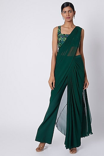 Bottle Green Embroidered Pant Saree Set by Diya Rajvvir