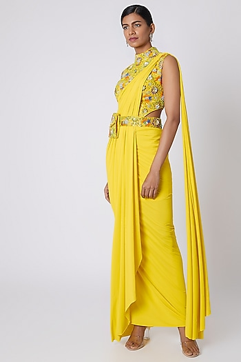 Yellow Embroidered Pre-Stitched Saree With Bag Belt by Diya Rajvvir