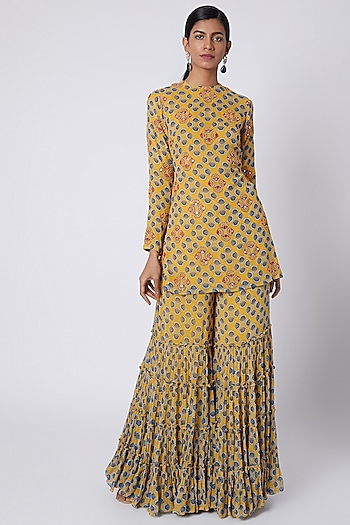Yellow Printed & Embroidered Kurta With Sharara Pants by Diya Rajvvir