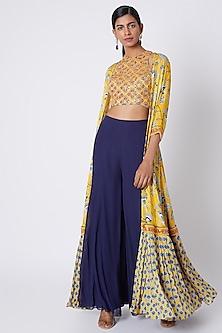 Yellow Printed & Embroidered Sharara Set by Diya Rajvvir