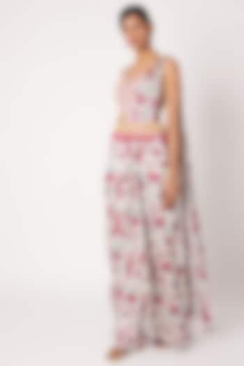 Pink Printed & Embroidered Pant Saree Set by Diya Rajvvir