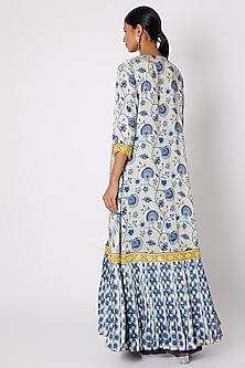 Blue Printed Jacket With Embroidered Blouse & Sharara Pants by Diya Rajvvir