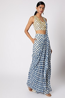 Blue Printed & Embroidered Sharara Saree Set With Belt by Diya Rajvvir
