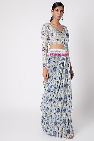 Blue Printed & Embroidered Saree Set by Diya Rajvvir