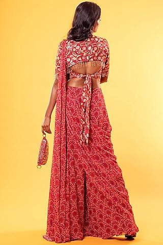 Maroon Printed Saree Set With Potli Bag by Diya Rajvvir
