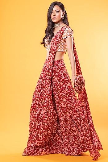 Maroon Jaal Printed Saree Set With Potli Bag by Diya Rajvvir