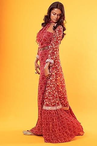 Maroon Printed Jumpsuit With Cape & Belt by Diya Rajvvir