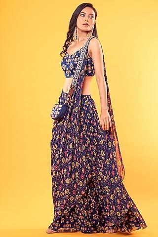 Cobalt Blue Jaal Printed Saree Set With Potli Bag by Diya Rajvvir
