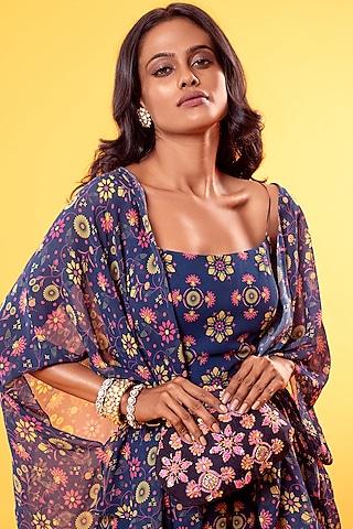 Cobalt Blue Printed Jumpsuit With Cape & Belt Bag by Diya Rajvvir