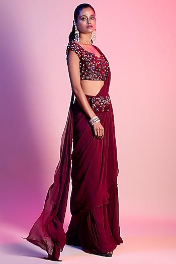 Maroon Embroidered Saree Set With Bag Belt by Diya Rajvvir