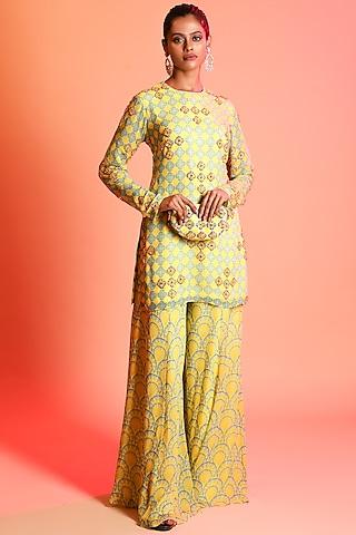 Yellow & Sky Blue Printed Sharara Set With Potli Bag by Diya Rajvvir