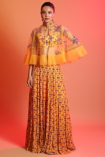 Mustard Embroidered Cape Set by Diya Rajvvir