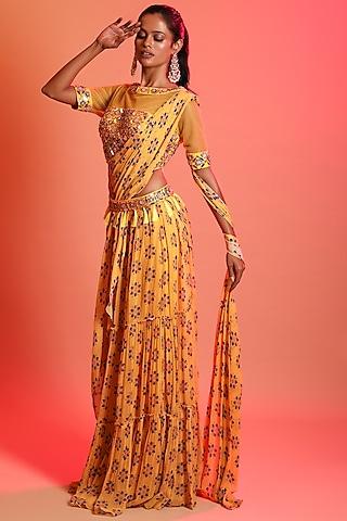 Mustard Printed Saree Set With Belt by Diya Rajvvir