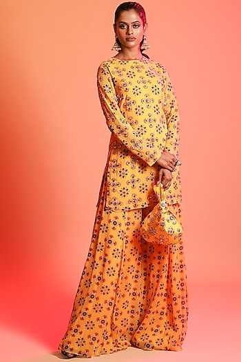 Mustard Printed Sharara Set With Potli Bag by Diya Rajvvir