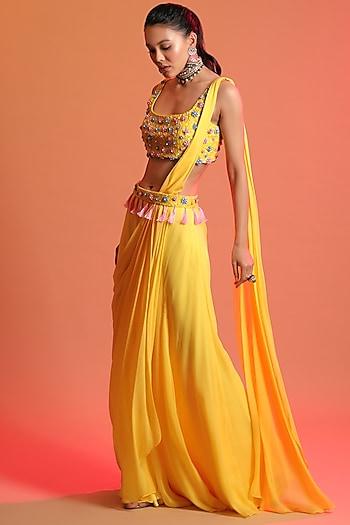Yellow Embroidered Saree Set With Belt by Diya Rajvvir