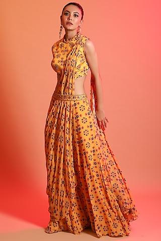 Yellow Printed Saree Set With Belt by Diya Rajvvir