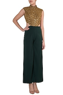 Dark Green Embroidered Scallop Jumpsuit by Diya Rajvvir