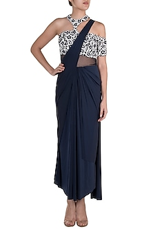 Dark Blue Embroidered Pre-Stitched Saree Set by Diya Rajvvir
