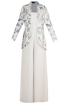White Embroidered & Painted Jacket With Jumpsuit by Diya Rajvvir