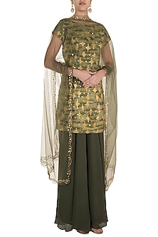 Green Embroidered Skewed Sharara Set by Diya Rajvvir