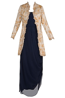 Mustard Embroidered & Painted Jacket With Dark Blue Cowl Dress by Diya Rajvvir