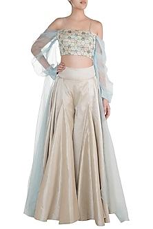Powder Blue Embroidered Blouse With Pant Skirt by Diya Rajvvir