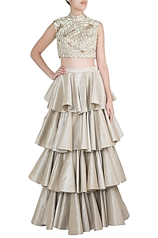 Silver Layered Ghera Skirt With Embroidered Blouse by Diya Rajvvir