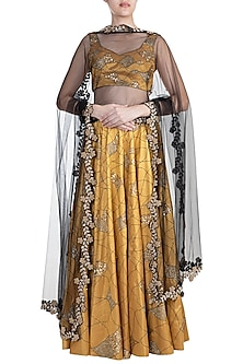 Gold Embroidered Lehenga Set by Diya Rajvvir