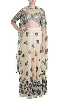 Green Embroidered Lehenga Set by Diya Rajvvir