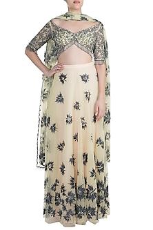 Yellow Embroidered Lehenga Set by Diya Rajvvir